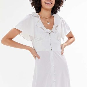 Urban Outfitters Button-front Ruffle Midi Dress